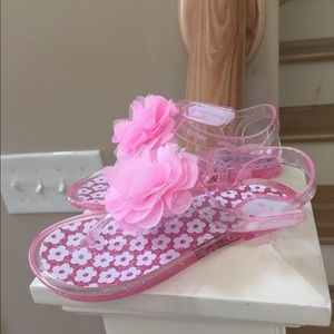 Other - Sandals jelly shoes pink mesh flower infant girl 9